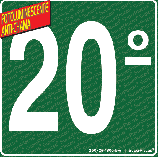 Placa 20 Andar Fotoluminescente